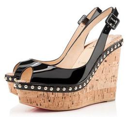 4 colors Summer sexy ladies Red Bottoms Monico Wedges Sandals Slingbacks Open Toe sandal high heels women pumps 34-42