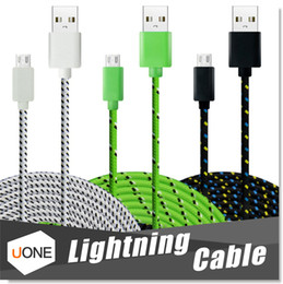 Wholesale 1M M M Fabric Braided Nylon Sync Cloth Woven Universal Micro USB Cable Cord Extra Long Extension For Samsung Iphone HTC Data Cable