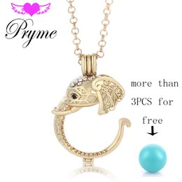 Wholesale Pryme Angel Bola Elephant Shape mm Cage Necklaces Pendants Copper Mexican Ball with Long Chain Jewelry for Mom Angel Caller Wing L060