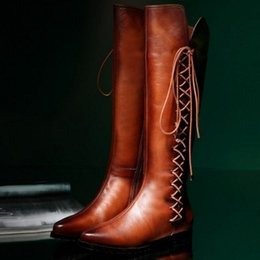 New winter flat boots, high boots, English knights of retro style side zippers female boots boots