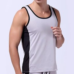 Mens Tank Tops Round Neck Sleeveless Muscle Gym fitness Lace Running Undershirt Summer T-Shirt ONLY Vest Top