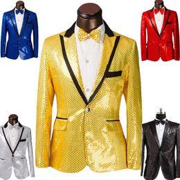 Wholesale 2016 New Sequins men s show suits wedding groom groomsman evening party host dress black edge colors Size S XL jacket tie