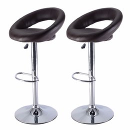 Wholesale Set of PU Leather Adjustable Swivel Bar Stool Hydraulic Chair Barstools Brown