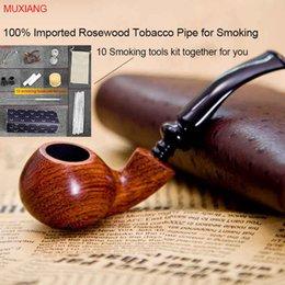 Wholesale MUXIANG Handmade Imported Rosewood Tobacco Pipe Smoking Apple Bending Style Cigarettes Pipe mm Filter with Tools Set Sale ad0005