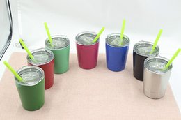 260ML 9oz Cup Wine Glasses Vacuum with Lids Straws Insulated Tumbler Stainless Steel Mug Drinkware kids Cups Mugs 10 colors