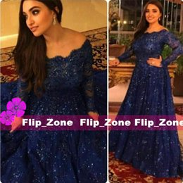 Arabic Abaya Full Lace 2016 Muslim Evening Dresses with Long Sleeve Off Shoulder Royal Blue Floor Length Plus Size Prom Party Formal Gowns