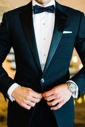 Wholesale 2016 One Button Side Slit Classic Fit Notch Lapel Groom Tuxedos Groomsman Suit Wedding Party Suit Jacket Pants Bow Tie Girdle