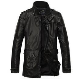 Desconto revestimento da motocicleta longas de couro Queda-2016 Inverno de couro longa ocasional trincheira tamanho homens revestimento l-xxxl alinhado pele jaqueta de couro homens quentes roupas motocicleta jaqueta