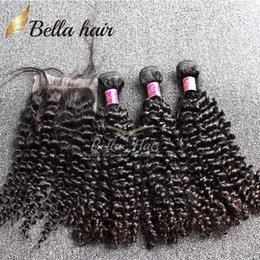 Bella Hair® 8A Hair Bundles with Closure Brazilian Virgin Curly Human Hair Weaves Natural Color Extensions julienchina