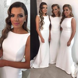 2016 Mermaid Bridesmaid Dresses Long 2016 Scoop Wedding Bridesmaids Formal Dresses Plus Size Court Train White Bridal Gowns Cheap Custom