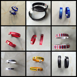 Wholesale Europ cup national team club team soccer printed children man woman charm bracelets adult and kids football fans bangles souvenir gifts