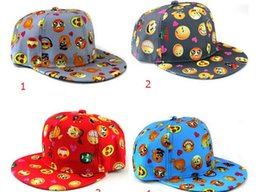Wholesale Crochet Flat Cap Pattern - QQ Emoji pattern caps children 2016 New Baseball cap flat along Parental hip hop Emoji pattern hats 5 color