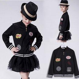 Wholesale Kid Clothing Logo - 2016 New Children Autumn Winter Coats Fashion Baseball Uniform Standing Collar Letter Team Logo Badge Girls Jackets Kids Outwear Clothing