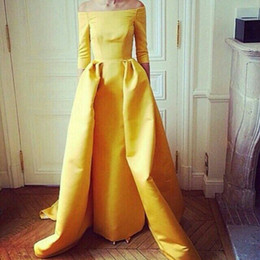 Vestidos Yellow Evening Dresses Elegant A Line Off Shoulder Half Sleeve Floor Length Evening Gowns Formal Women Dresses