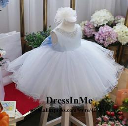 Bleu gros-Charme Big Bow perlé Fluffy Lumière Flowergirl Dress TUTU Robe Pagent avec boule Jupe à partir de robes de pagent perles fabricateur