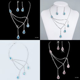 Wholesale Best Selling Bridal Jewelry Sets Necklace and Earrings Blue Pink Diamonds Rhinestone Accessories for Prom Party Wedding