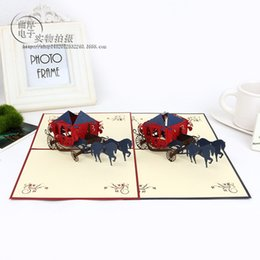 2016 Sale Anniversary General Postcard The New 3 D Carving Exquisite Handmade Paper Card Romantic Carriage Cards Fashion Festival Greeting