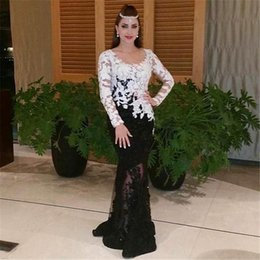 White and Black Mermaid Evening Dresses Long Sleeve Arabic Dubai Style Myriam Fares Lace Vestidos de Festa Celebrity Prom Gowns