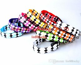 Wholesale Diamond shape printed led flashing dog pet safety collar necklace glowing dog collar many color for your choose