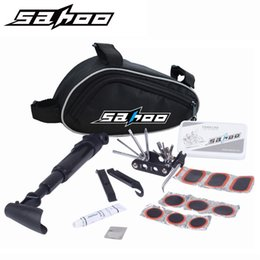 Wholesale SAHOO Bike Bicycle Cycling Portable Repair Tools Bag Folding in Tyre Repair Multifunctional Kit Set With Pouch Pump