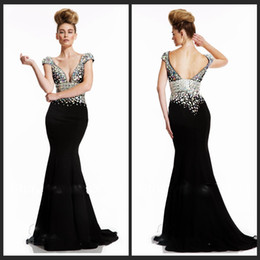 Wholesale Artful Deep V neck Crystals Black Women Evening Vestidos De Fiesta Plus Size New Arrival Prom Dresses Mermaid Gowns