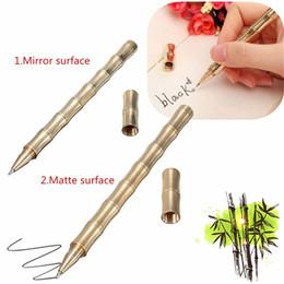 Wholesale 1pcs Handmade Bamboo Model Pen Pure Brass Ballpoint Pen Office School Refillable Gel Pen Pen Bag