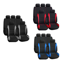 Wholesale Universal Car Seat Cover Set Seat Covers Front Seat Back Seat Headrest Cover Mesh Black and Blue K1760