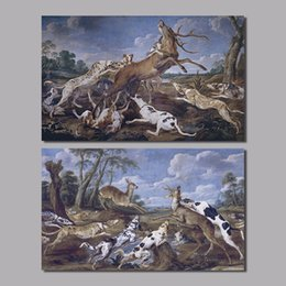 Wholesale European Animal Hunting Party living room decoration dog canvas painting print puppy deer wall art pictures home decor unframed