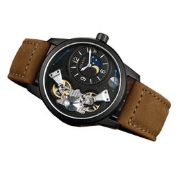 Wholesale watch men mechanical automatic movement sapphire window watches for men fashion men watches with moon phase compass
