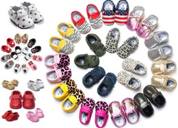 EMS Free Ship 72 piece lot baby moccasins girls bow moccs 100% Top soft leather moccs baby booties Mix color and sizes