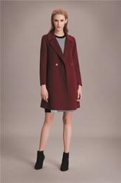 Wholesale 2016 new arrival burgundy womens winter cashmere coats lapel neck fashion high quality maxmara coats ladies Outerwear woolen coats