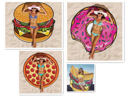 Wholesale Hot Selling quot cm Round Yoga Mat Picnic Blanket Pizza Hamburger Donut Polyester Beach Shower Towel Blanket