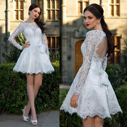 Wholesale 2016 New Little White Lace Homecoming Dresses Sheer Crew Neck Long Sleeves Backless Bow Belt Short Prom Dresses Mini Cocktail Dresses