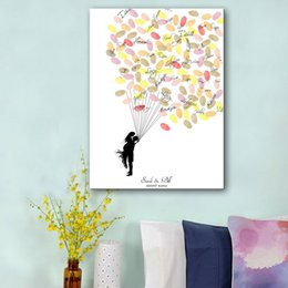Wholesale Fingerprint Balloon Signature Canvas Painting Hug of Bride Groom Wedding Gift Decoration DIY Guest Book Include Ink Colors