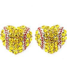 2018softballsunny usa sports softball red drop oil heart yellow crystal hook earrings studs