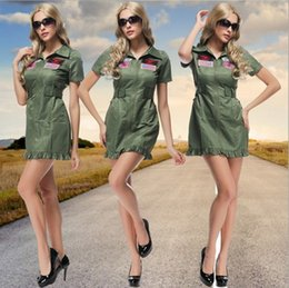 Wholesale 2016 New Army Green Women Pilot Dress Sexy Cosplay Halloween Costumes Uniform Temptation Club Stage Performance Clothing Hot Sale