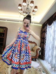 women latest world fashion dresses skirt flower red no sleeve diamond button printed flower very good cloth