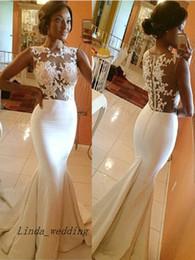 Free Shipping Elegant Beautiful Trumpet Mermaid High Neck Satin Applique Sleeveless Sweep Brush Train Wedding Dresses Bridal Gowns