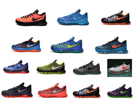 Wholesale KD Christmas Pairs Fire and Ice men shoes Kevin Durant Hunt s Hill Sunrise KDS Hyper Cobalt kd8 Road Game OKC Thunder basketball shoes