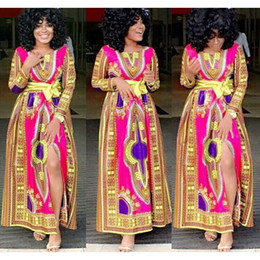 Wholesale New african fashion design skirt designs women traditional print Dashiki clothing National characteristics long sleeve dresses
