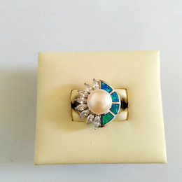 Wholesale The new trend of fashion personality S925 silver inlay Opal Zircon Ring High end atmosphere on the grade