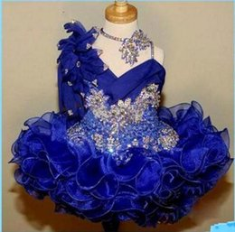 Cute Girl's Glitz Pageant Dresses Royal Blue Lace Flower Girl Dresses Hand Made Flowers Beads Crystals Tiers Toddler Pageant Dresses