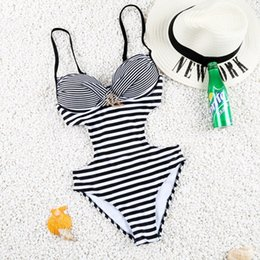 Wholesale Shining Swimwear - 2016 Hot! One Piece Swimwear Push Up Striped Swimsuit Sexy Monokini Under-wired Bathing Suit with Shining Diamonds Fardas 81606
