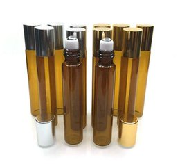 10ml Brown Glass Essential Oil Roller Bottles with Stainless Steel Roller Balls, for Perfumes Glass Bottles 300Pcs lot By DHL Free Shipping