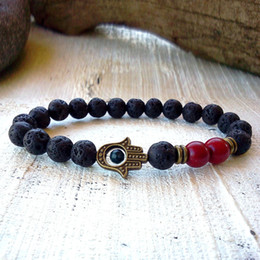 SN0292 Fashion 2016 Jewelry Men bracelet Red Turquoise Bronze Hamsa bracelet Lava Bead Bracelet For Man Natural Stone Bracelet