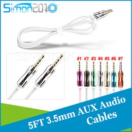 4 parts 3.5mm Stereo Audio AUX Cable Crytal line with metal calabash shape jack port 5ft length Audio cable for phone PC