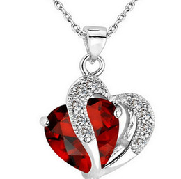 Hot Women Lady Heart Crystal Silver Amethyst Pendant Necklace Jewelry for Lover Gift 9 Colors High Quality Fashion Heart Pendant Necklaces