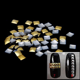 3mm 18000pcs Silver Gold Square Flatback Glue Backing Alloy Nails Art Decoration Metal Nail Art Tips Metallic Studs Sticker DIY