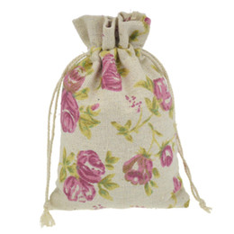 10x14cm Handmade Jewelry Bags Rose Flower Cotton Linen drawstring Package bags Sack Jewelry Pouches wedding bomboniera Gift burlap bags
