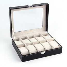 Wholesale Black PUleather Grid professional Wrist Watch Display Box Jewelry Storage Holder Organizer Case Quality NO1